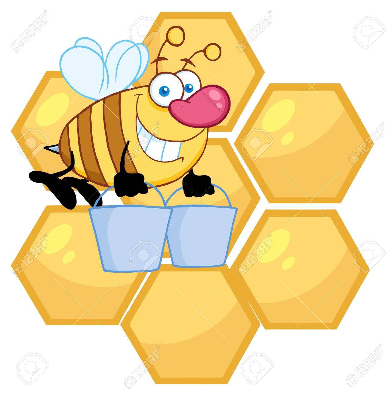 happy honey bee flying with a buckets in front of a orange bee