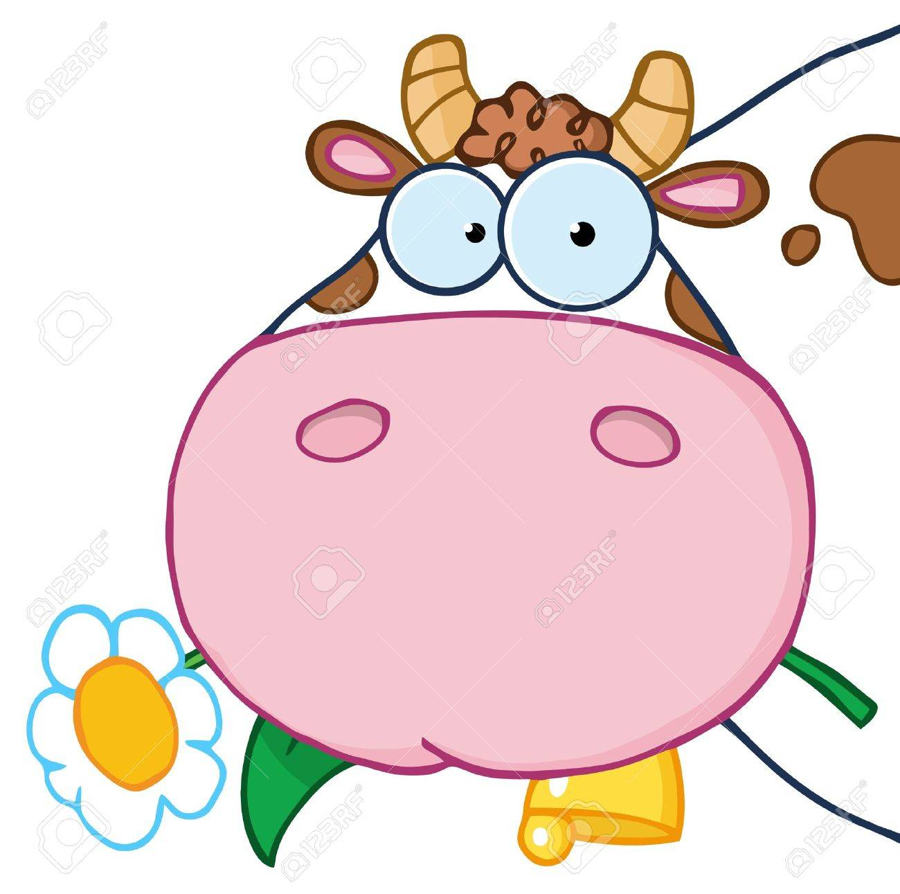 Cow Head Cartoon Character Carrying A Flower In Its Mouth