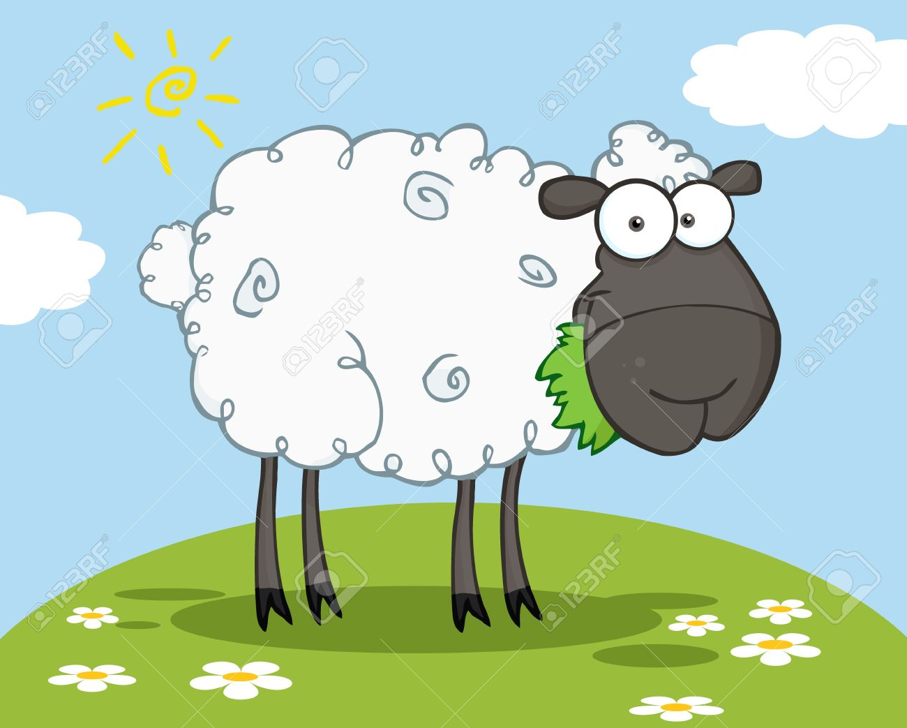 Black Sheep Cartoon Character Eating A Grass On A Hill Stock Vector - 9276701