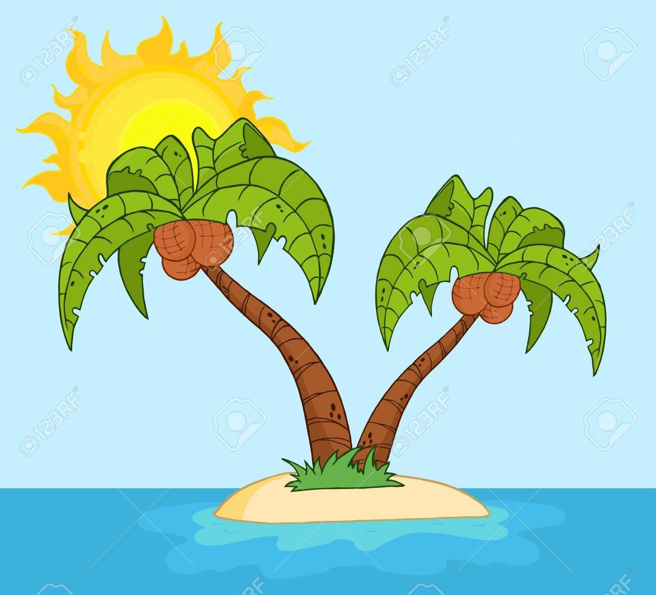 Cartoon Palm Tree Island Island With Two Palm Tree