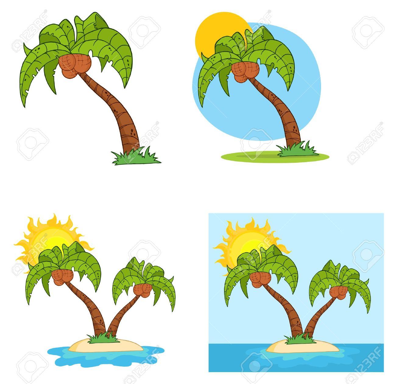 Set Of Cartoon Palm Tree Stock Vector - 9398482