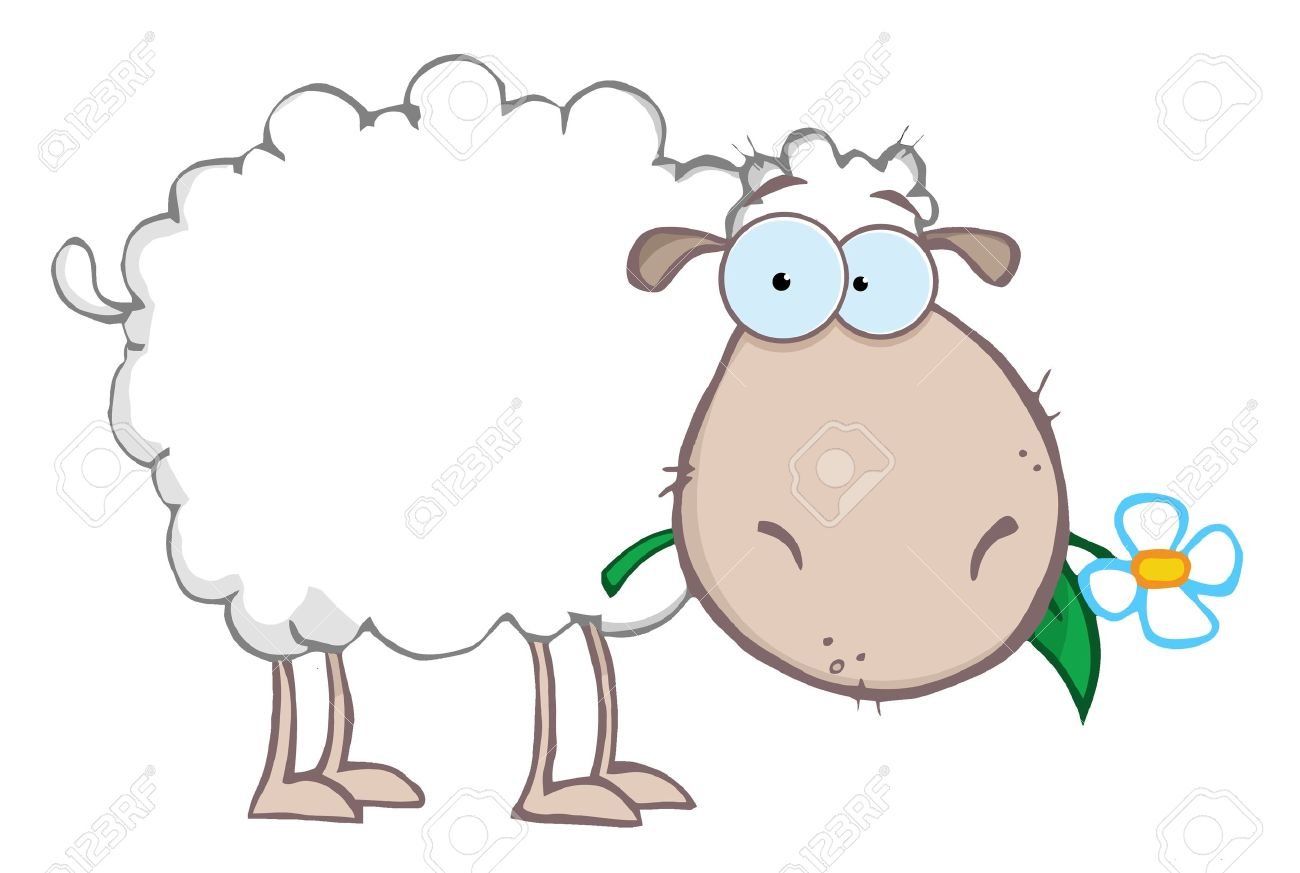 White Sheep Cartoon Character Eating A Flower Stock Vector - 9398473