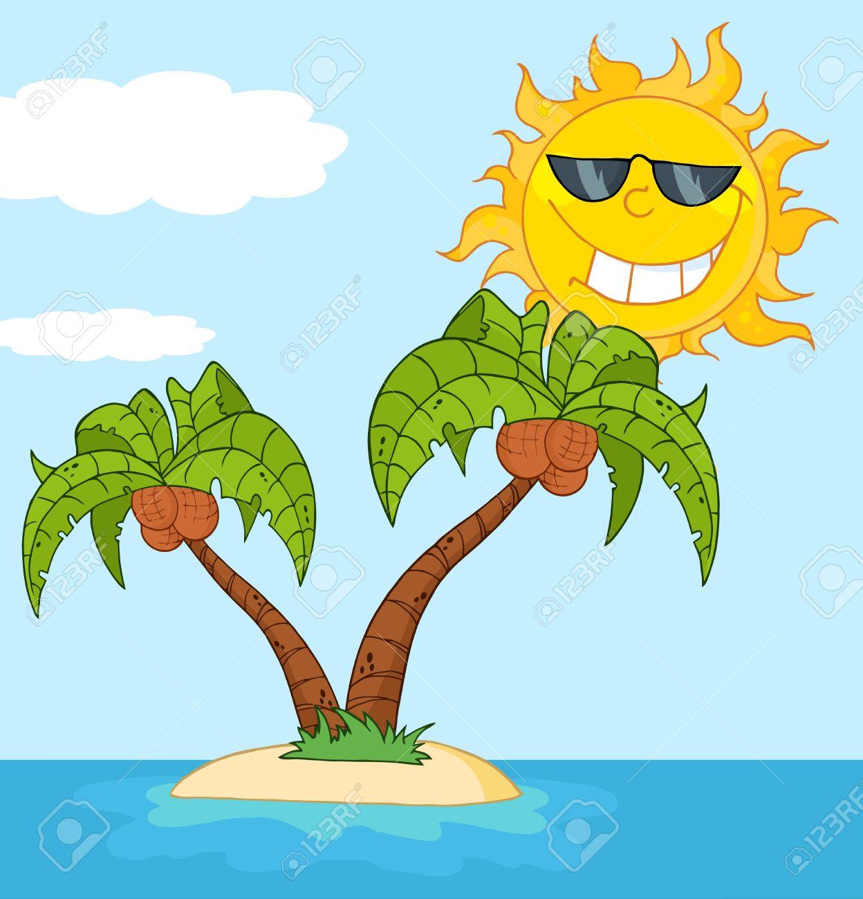 Cartoon Palm Tree Island Island With Two Palm Tree And