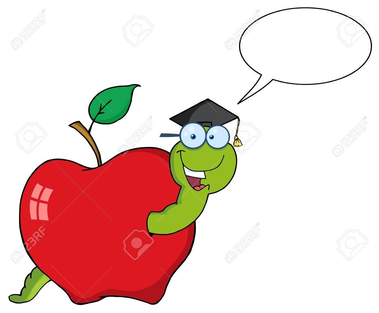 Happy Graduate Worm In Apple With Speech Bubble Stock Vector - 9634045