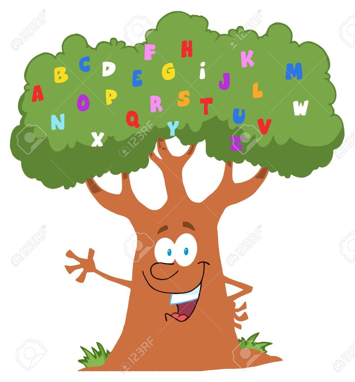 Happy Cartoon Tree Character With English Alphabet Stock Vector - 9634084
