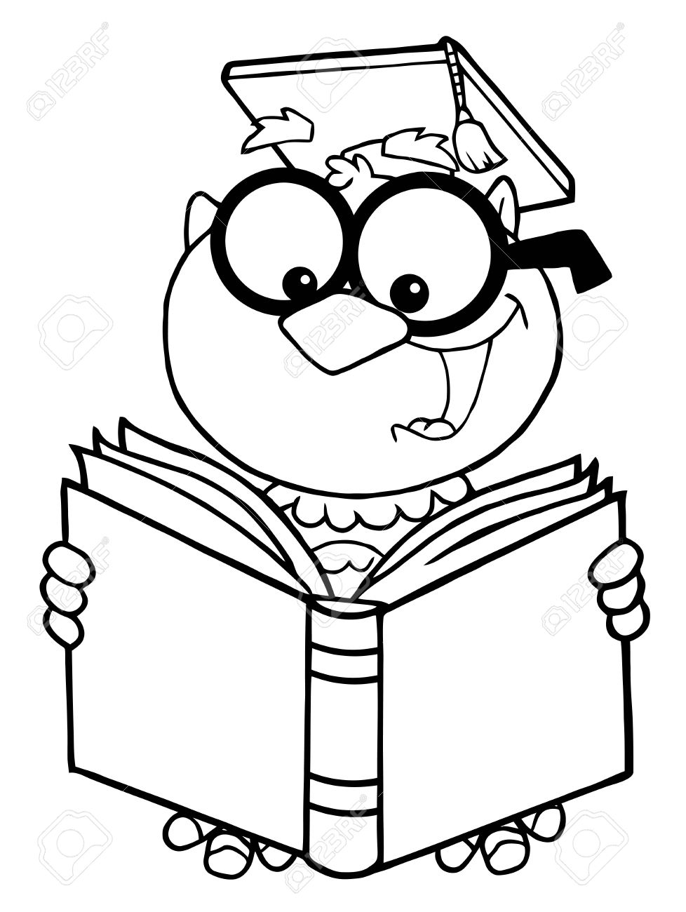 Outlined Owl Teacher Cartoon Character Reading A Book Stock Vector