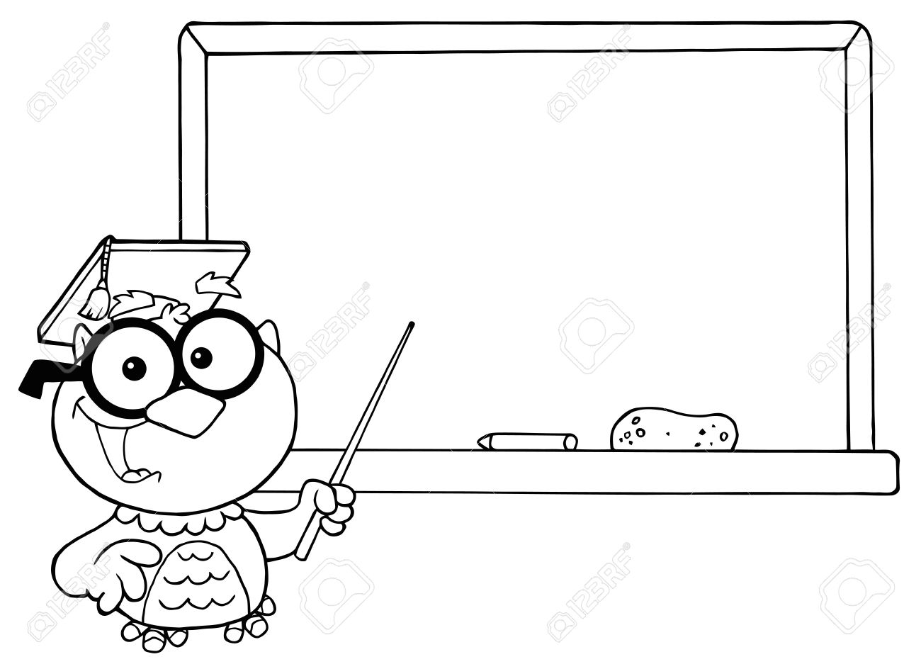 Outlined Professor Owl And Chalk Board Royalty Free Cliparts ...
