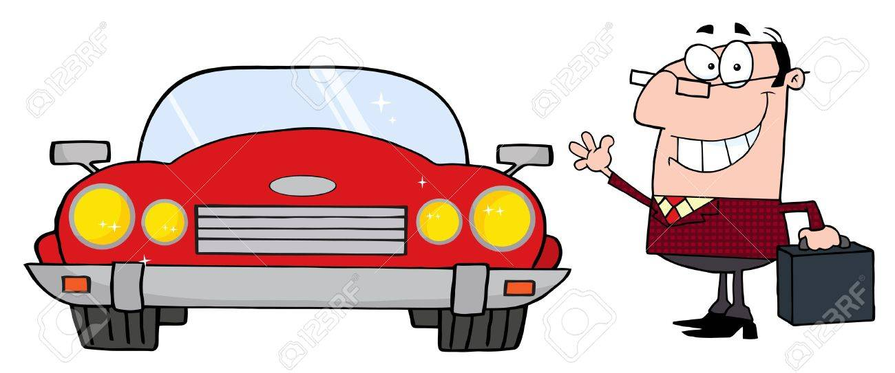 Commuter Businessman And Convertible Car Stock Vector - 9681481