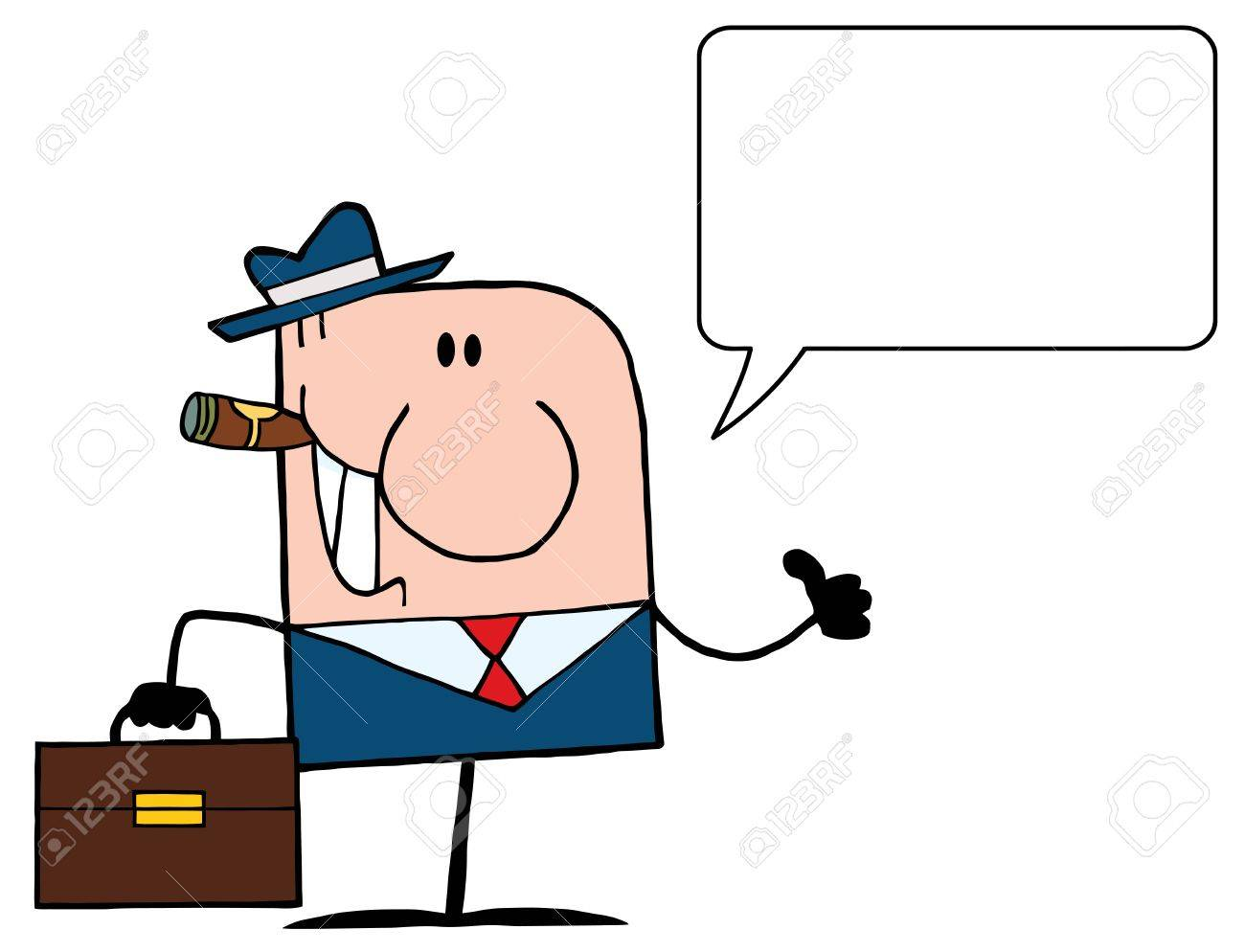 Cartoon Doodle Businessman Holding A Thumb Up And Speech Bubble Stock Vector - 9681458