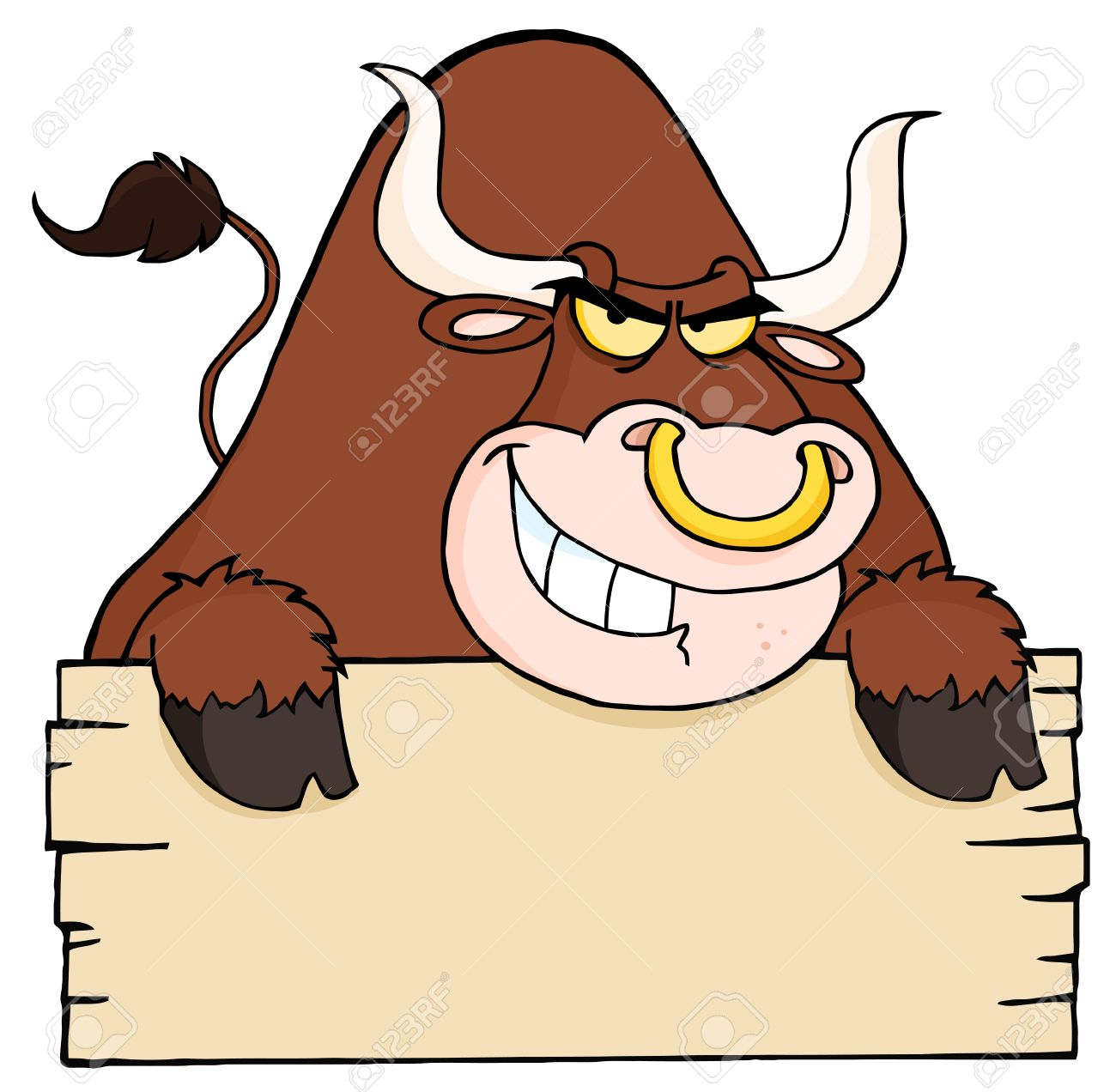 Angry Longhorn Looking Over A Blank Wood Sign Stock Vector - 9681499