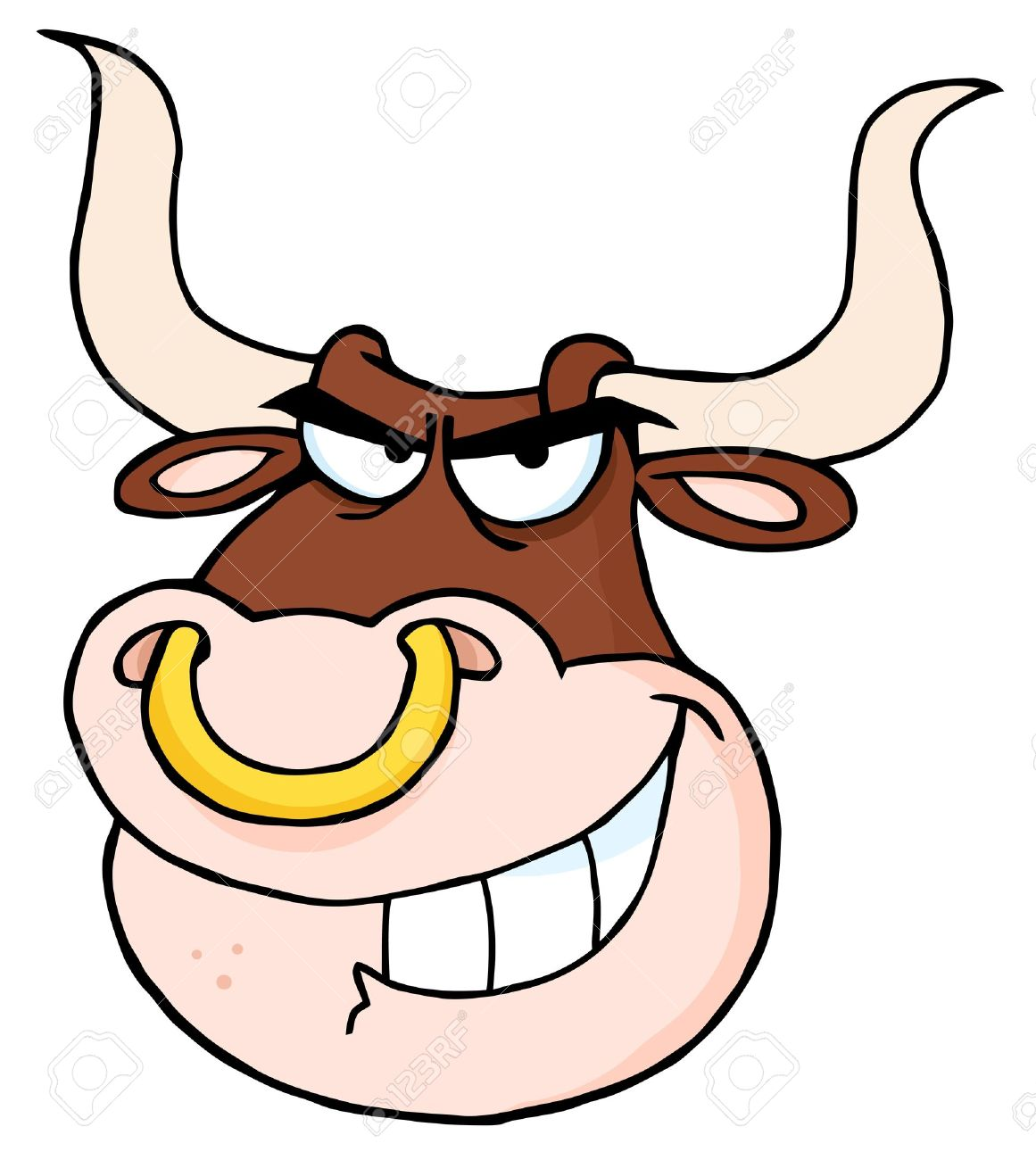 Angry Bull Head Cartoon Mascot Royalty Free Cliparts, Vectors, And ...