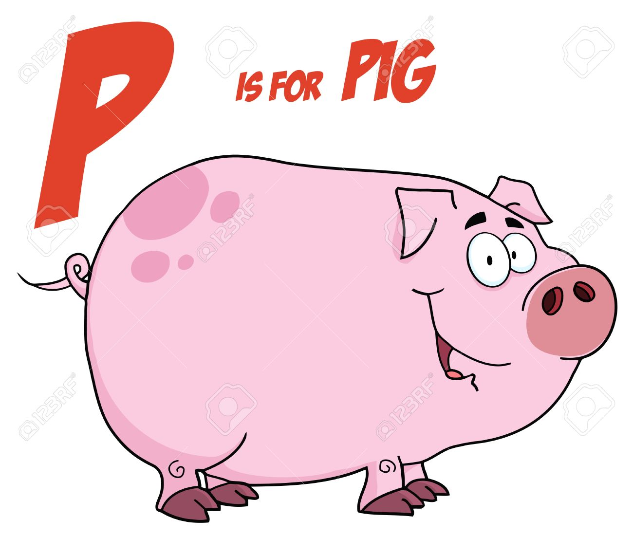 Pig Cartoon Character With Letter P Stock Vector - 9681590