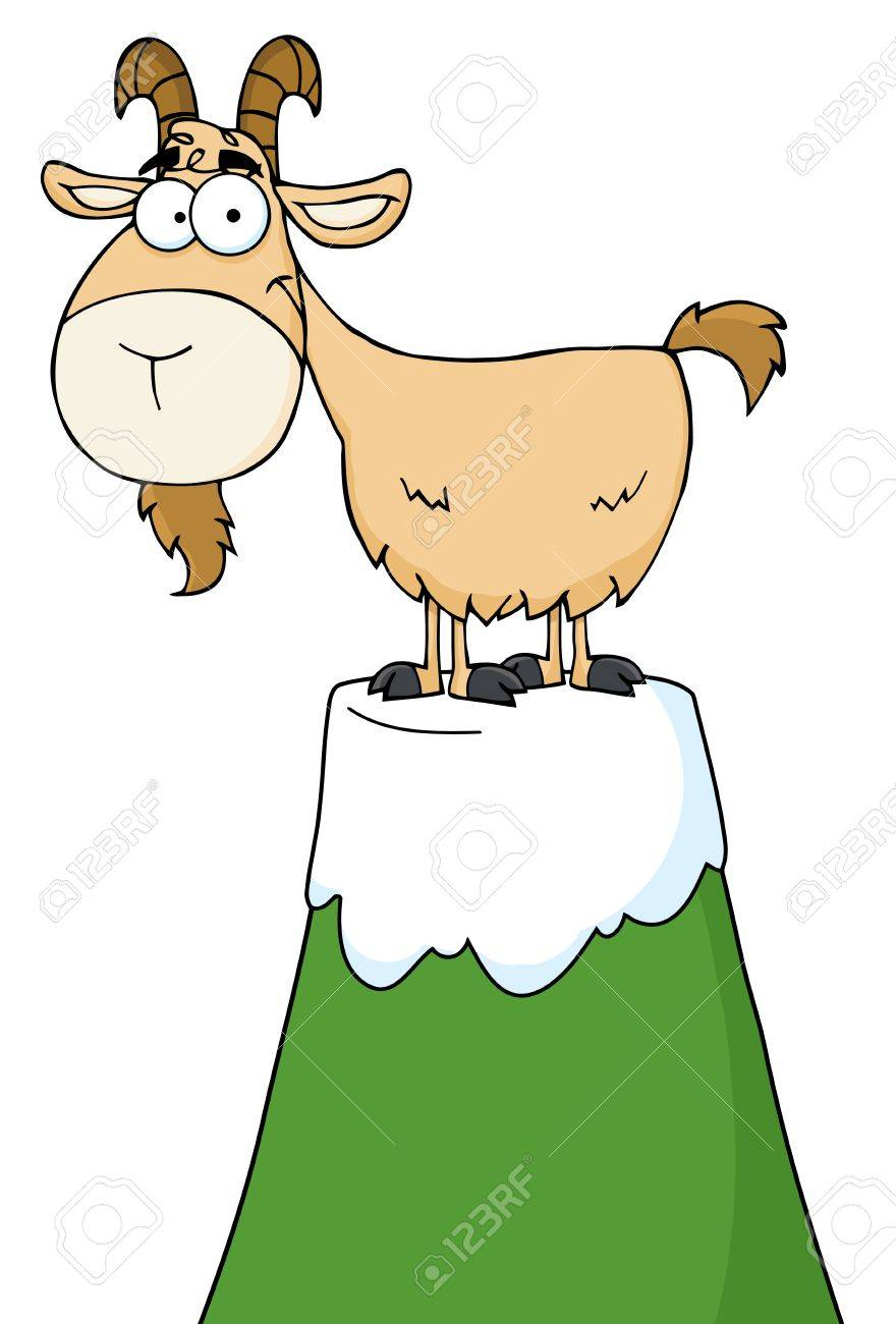 Longhorn Cartoon Character On Top Of A Mountain Peak Stock Vector - 9681583