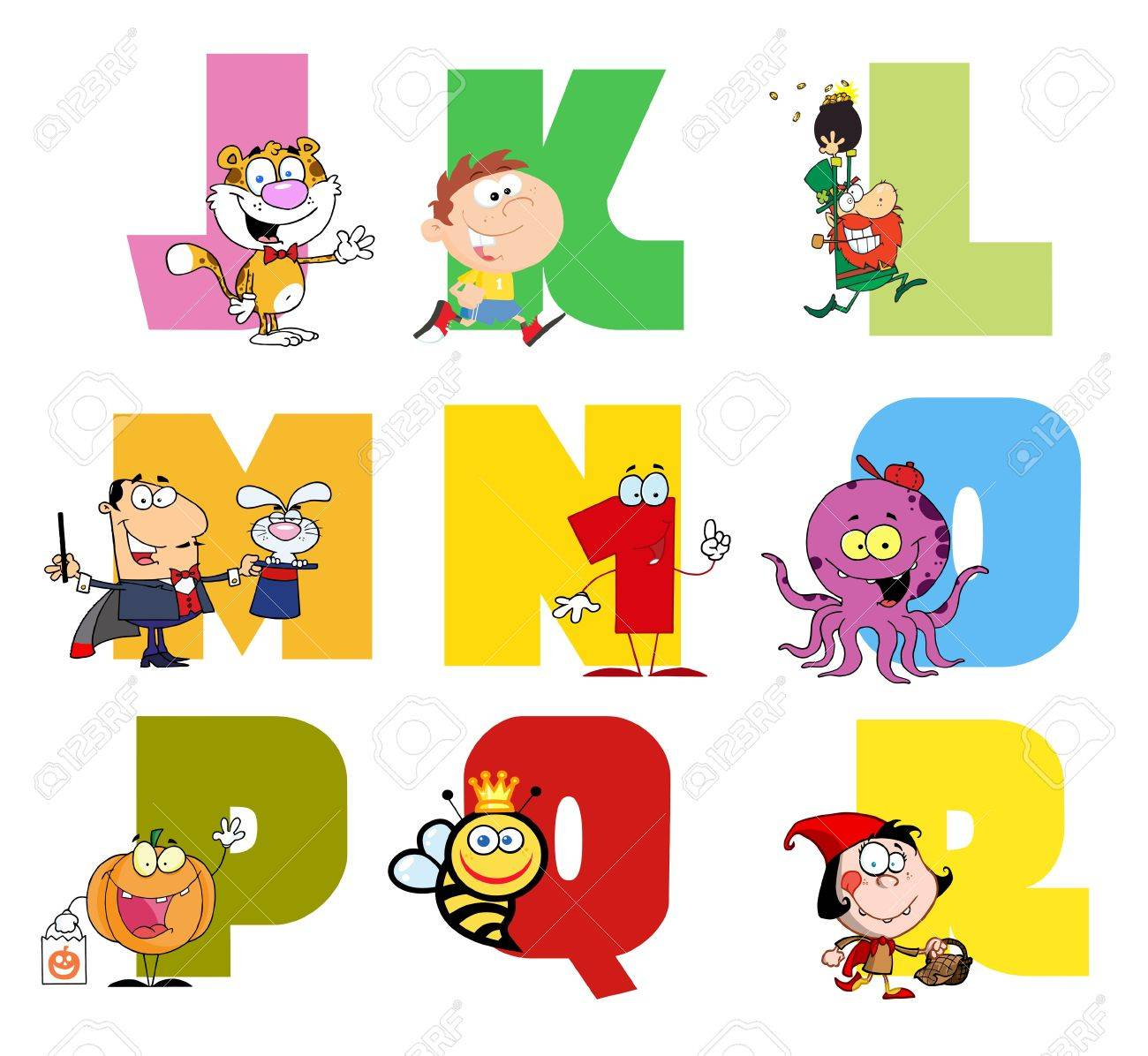 Joyful Cartoon Alphabet Collection 2 Stock Vector - 9789368