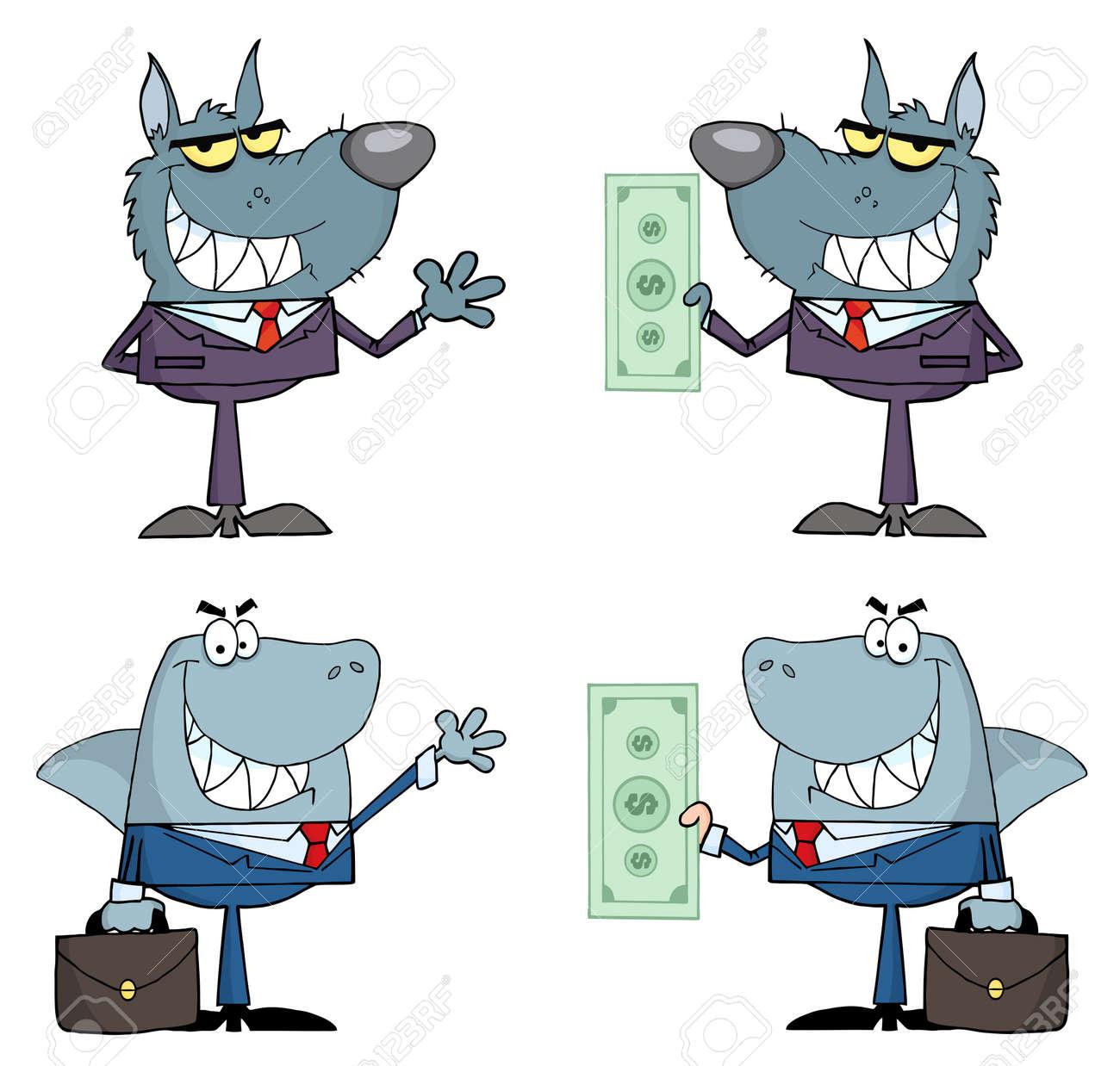 Business team cartoon characters cartoon vector cartoondealer com - Animals Businessmen Cartoon Characters Raster Collection Stock Vector 9789358