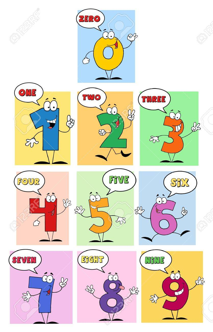 Funny Friendly Comics Numbers-Vector Collection Stock Vector - 9789446