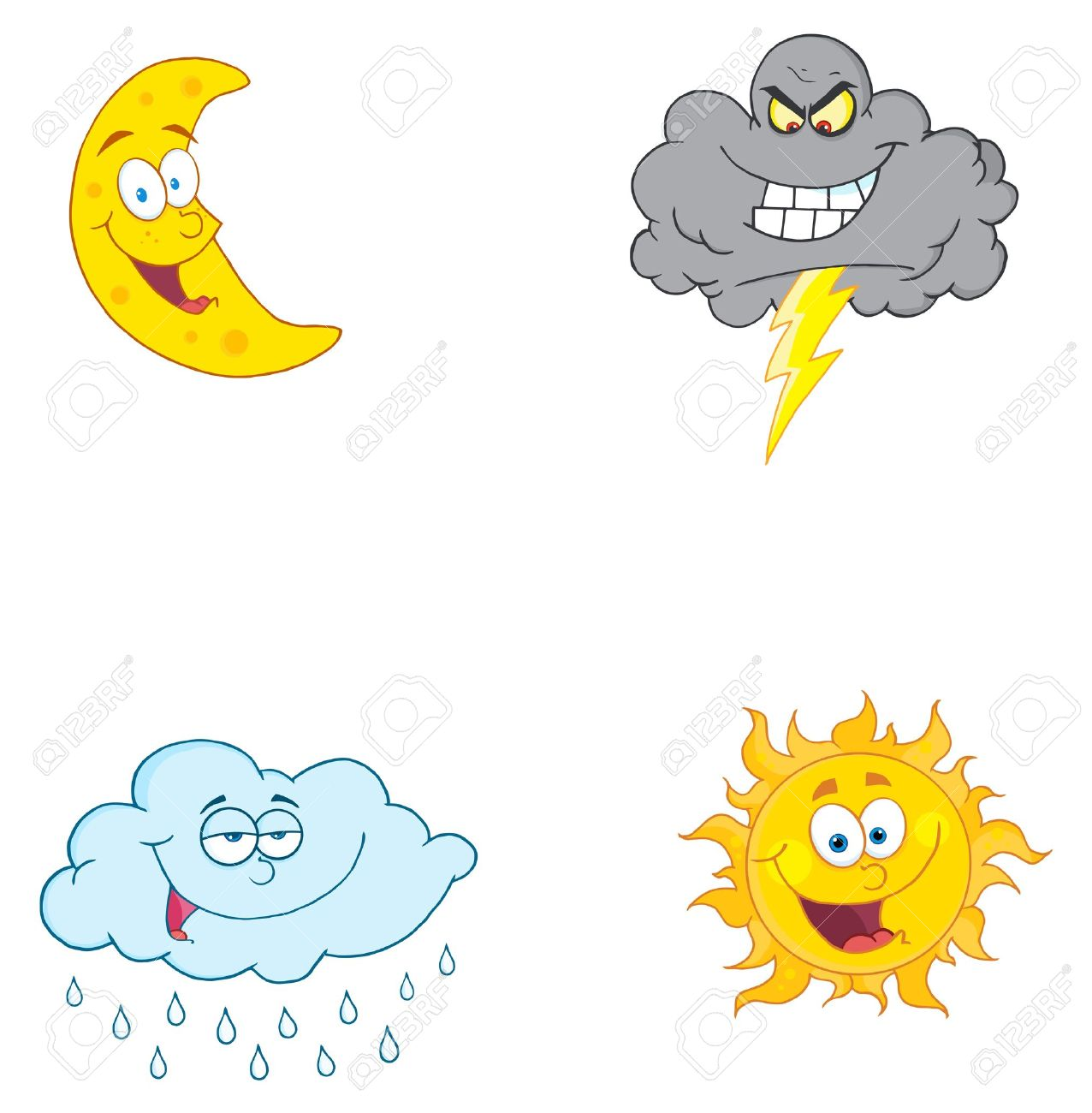 Four Weather Symbols Vector Collection Royalty Free Cliparts