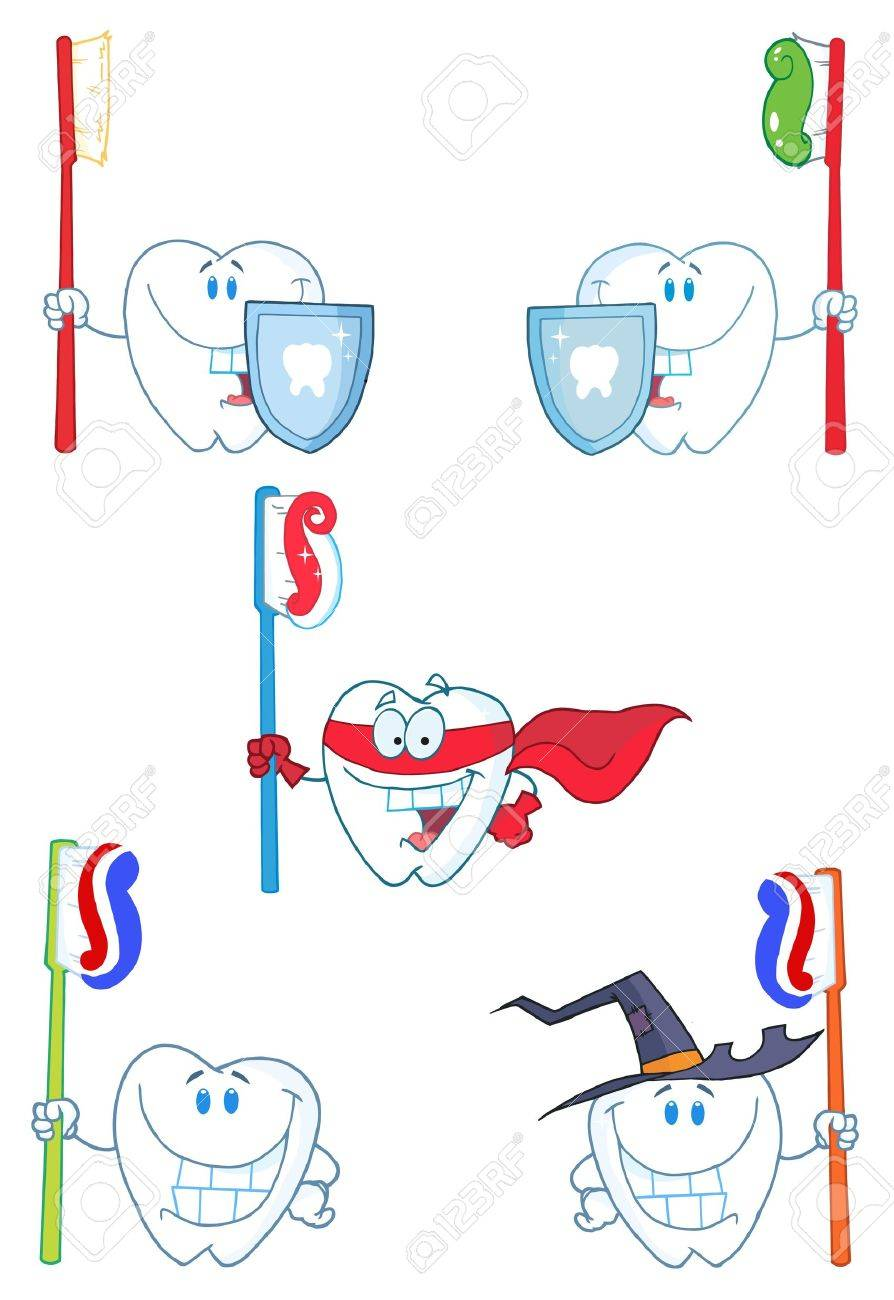 Tooth Mascot Cartoon Characters-Vector Collection Stock Vector - 9901628