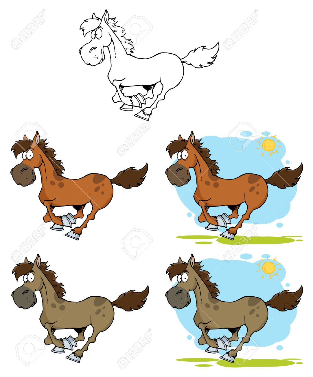 Cartoon Horses Running Royalty Free Cliparts Vectors And Stock Illustration Image 9901642