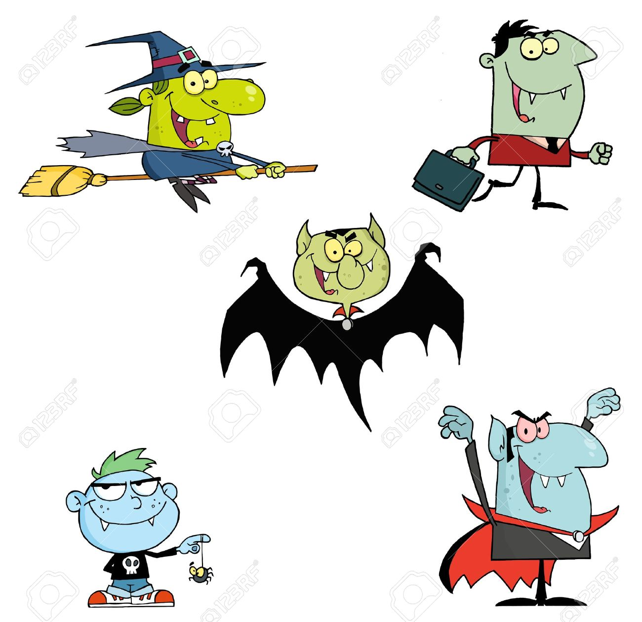 Halloween Monsters Cartoon Characters Royalty Free Cliparts ...
