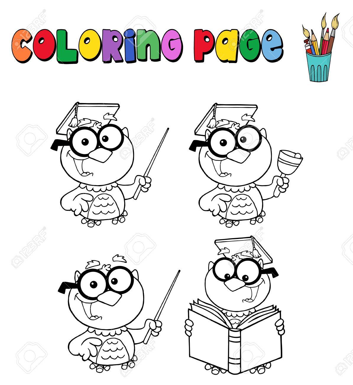 Página Para Colorear Con Maestro Búho Ilustraciones Vectoriales ...