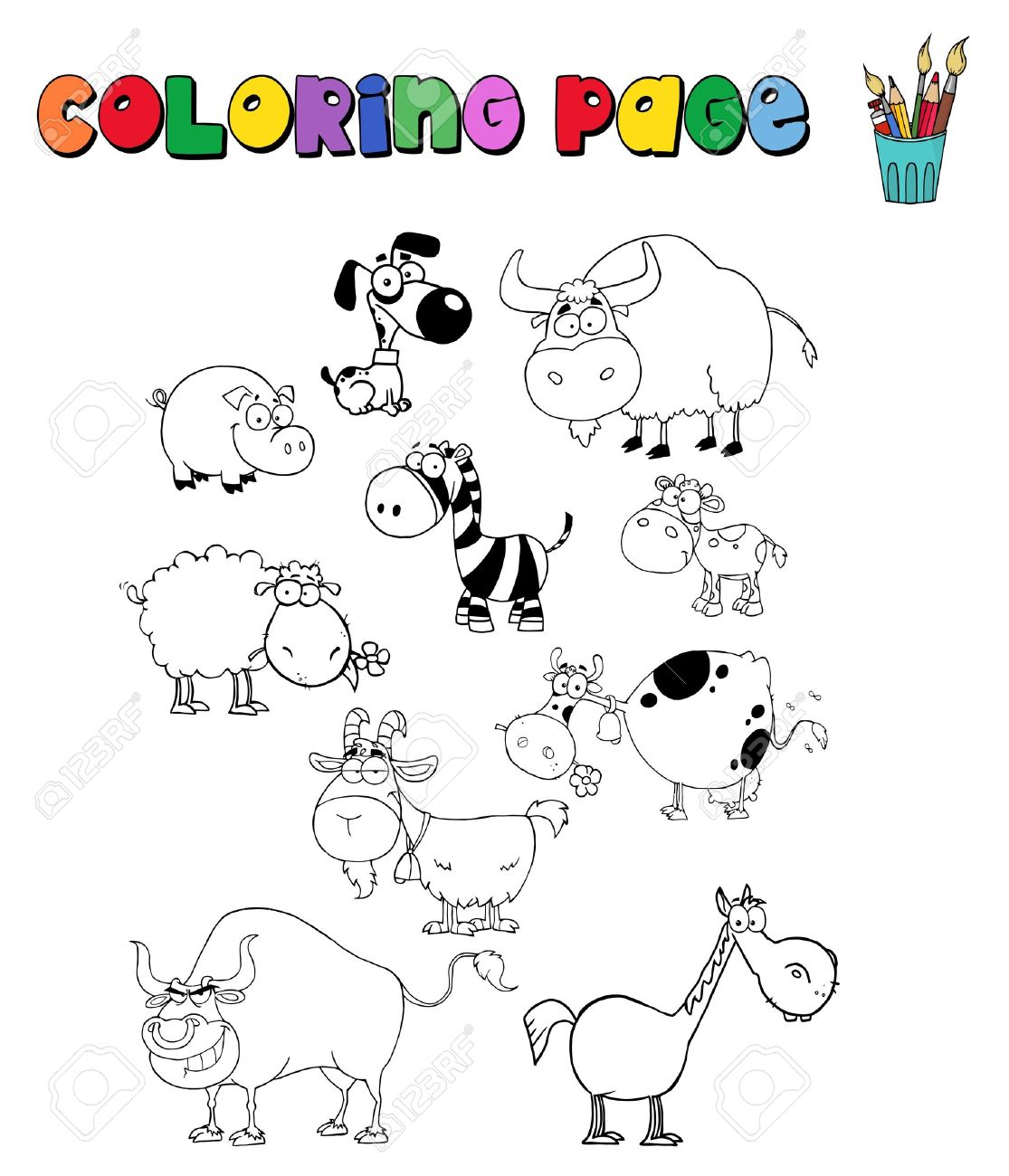 coloring page with farm animals royalty free cliparts vectors