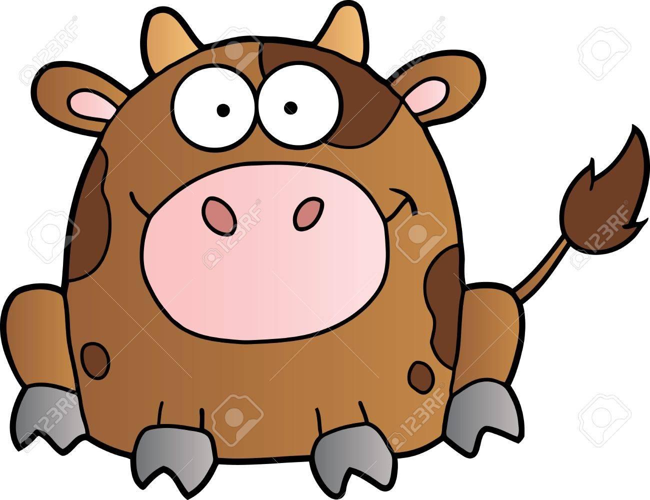 Cute Brown Cow Cartoon Mascot Character Stock Vector - 10049771