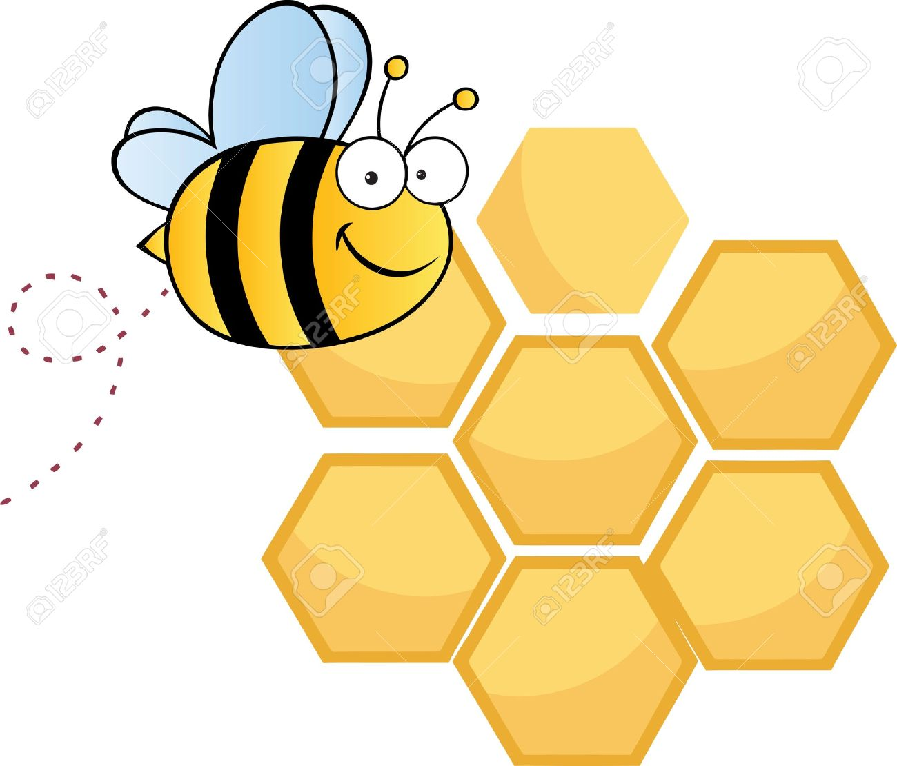 bee cute cartoon character flying in front of a orange bee hives