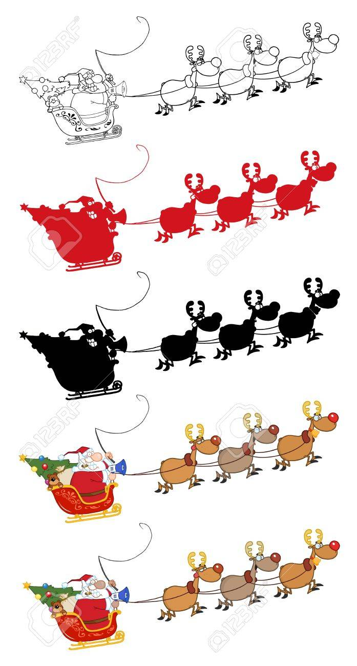 Santa Claus And Team Of Reindeer In His Sleigh Flying. Stock Vector - 10049781