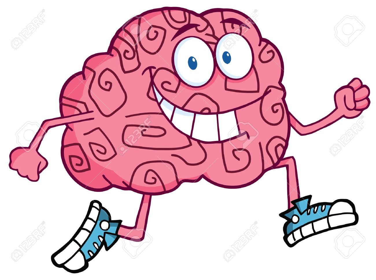 Running Brain Cartoon Character Stock Vector - 10391659