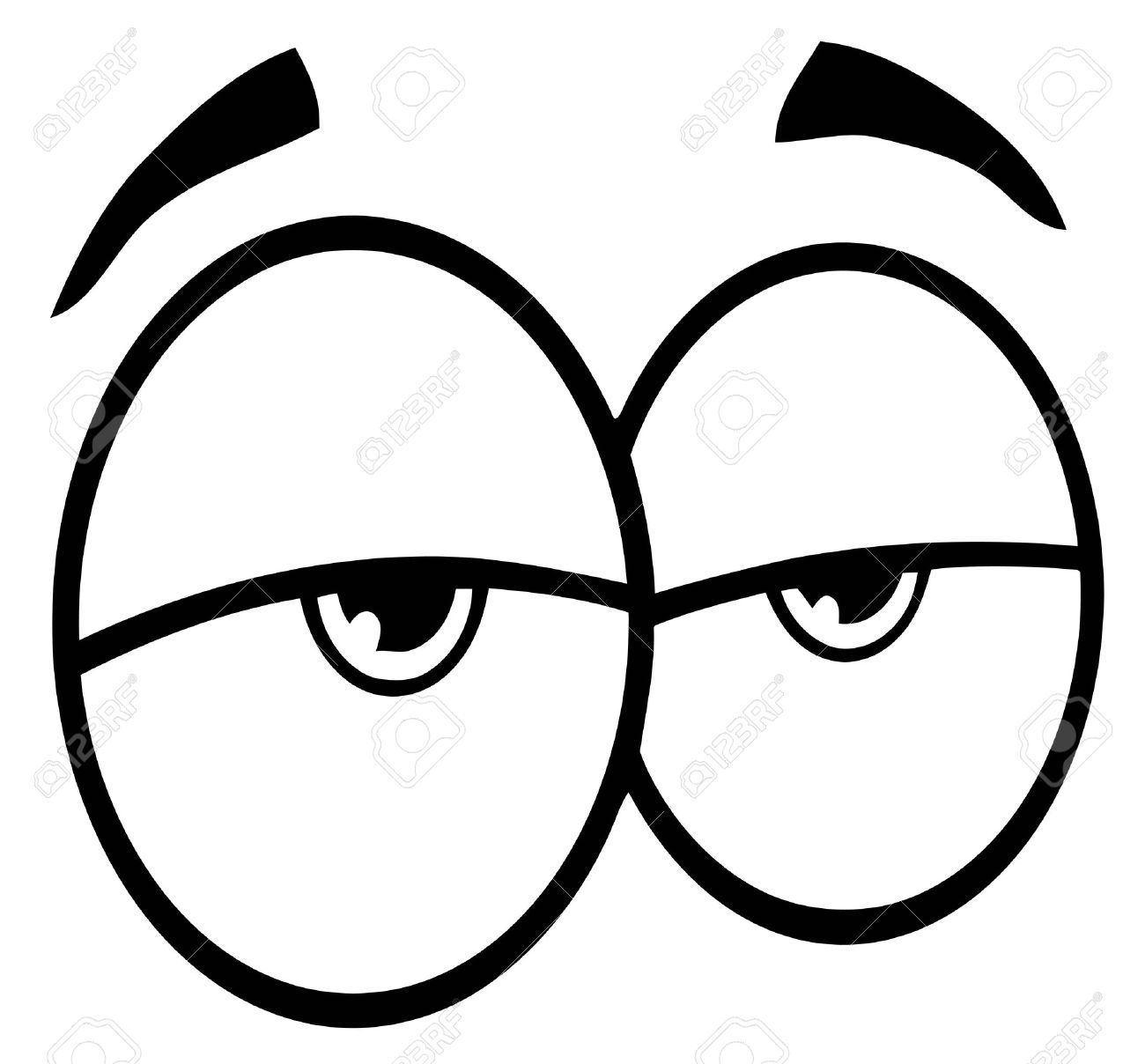 Outlined Sad Cartoon Eyes Royalty Free Cliparts Vectors And