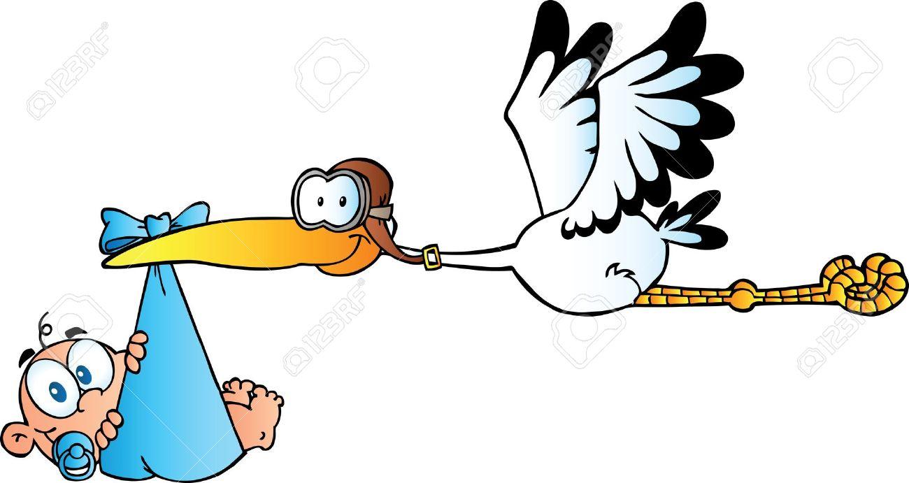 Stork Delivering A Newborn Baby Boy - 10596162