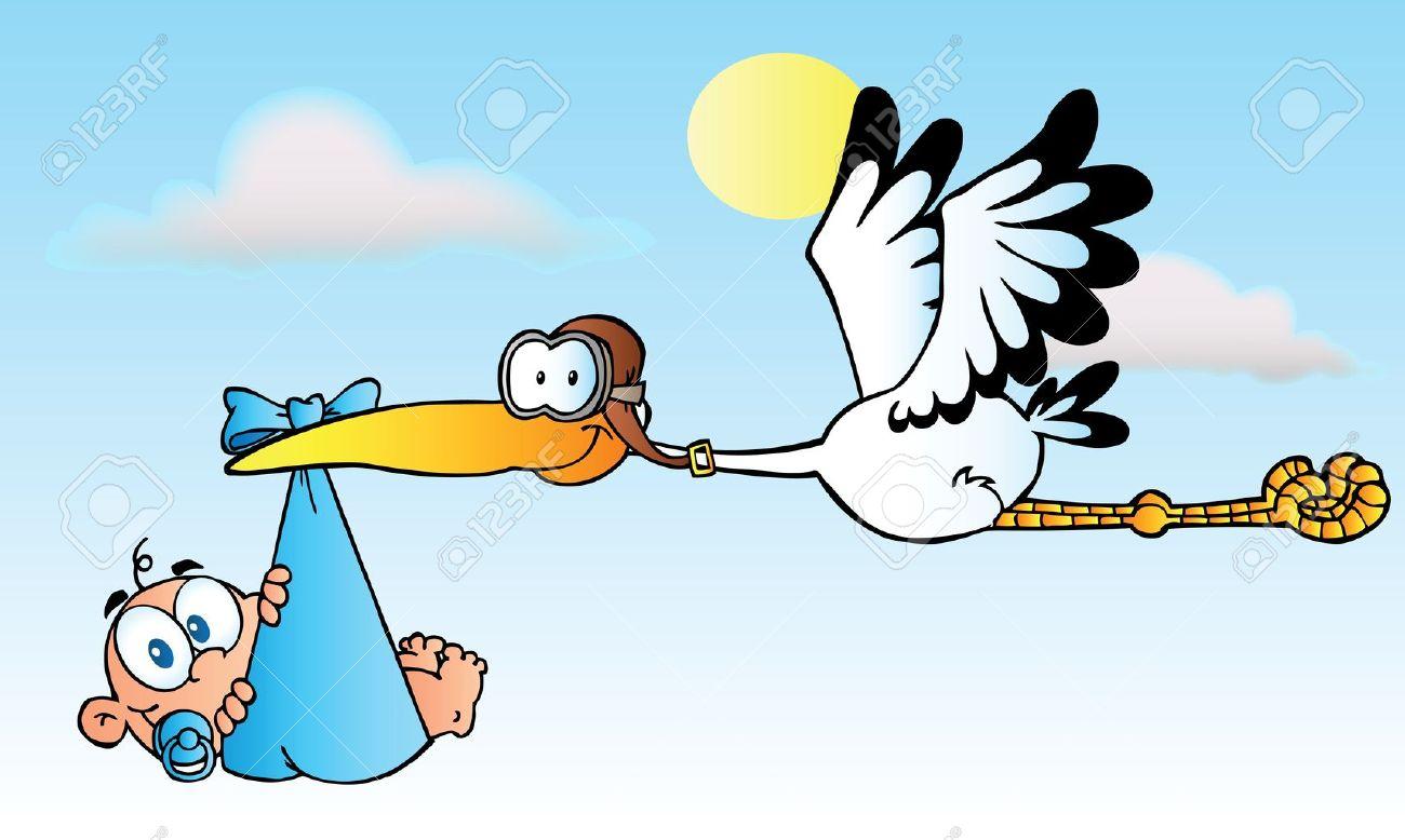 Stork Delivering A Baby Boy - 10596150