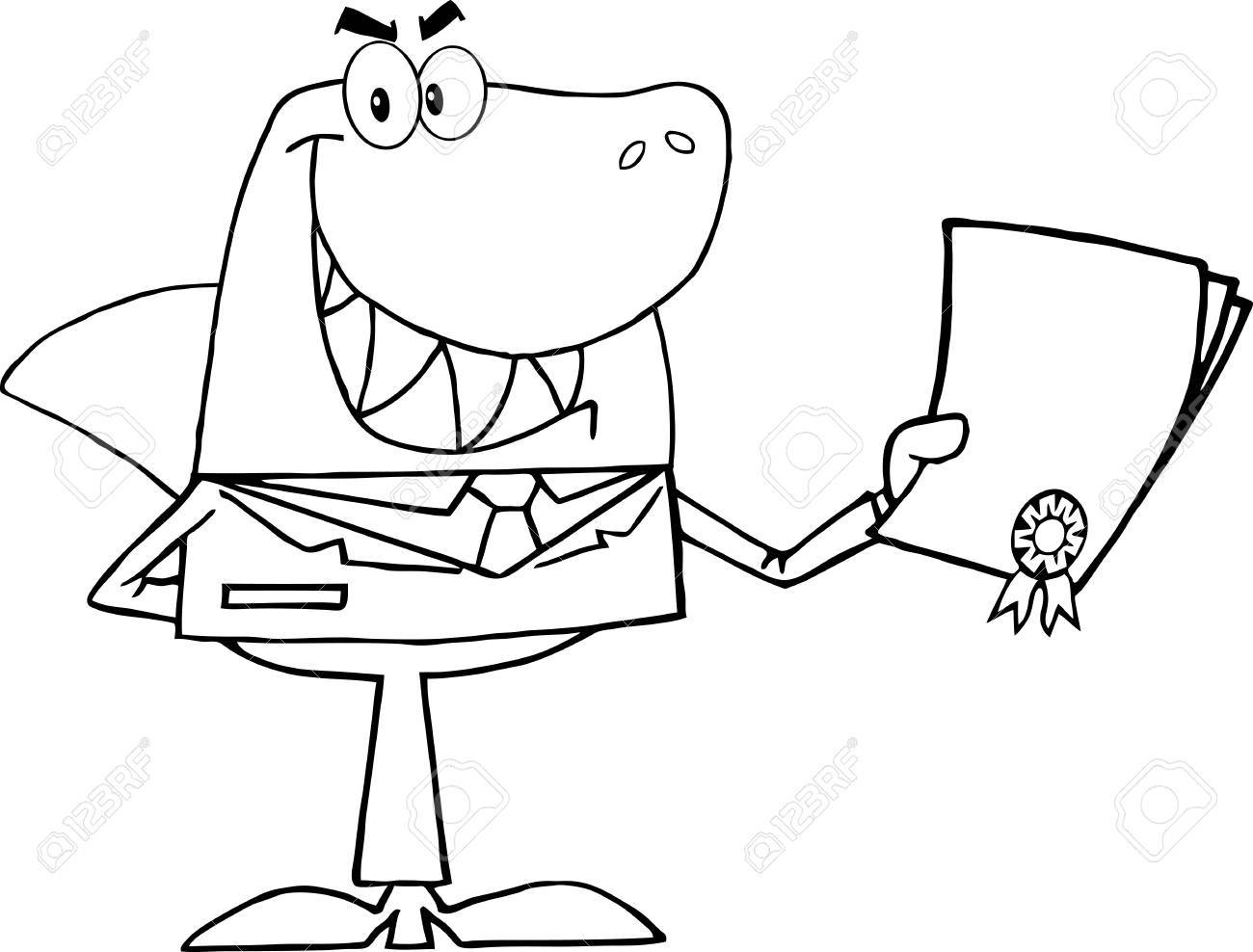 Outlined Shark Businessman Holding A Bad Contract In His Hand Stock Vector - 10748934