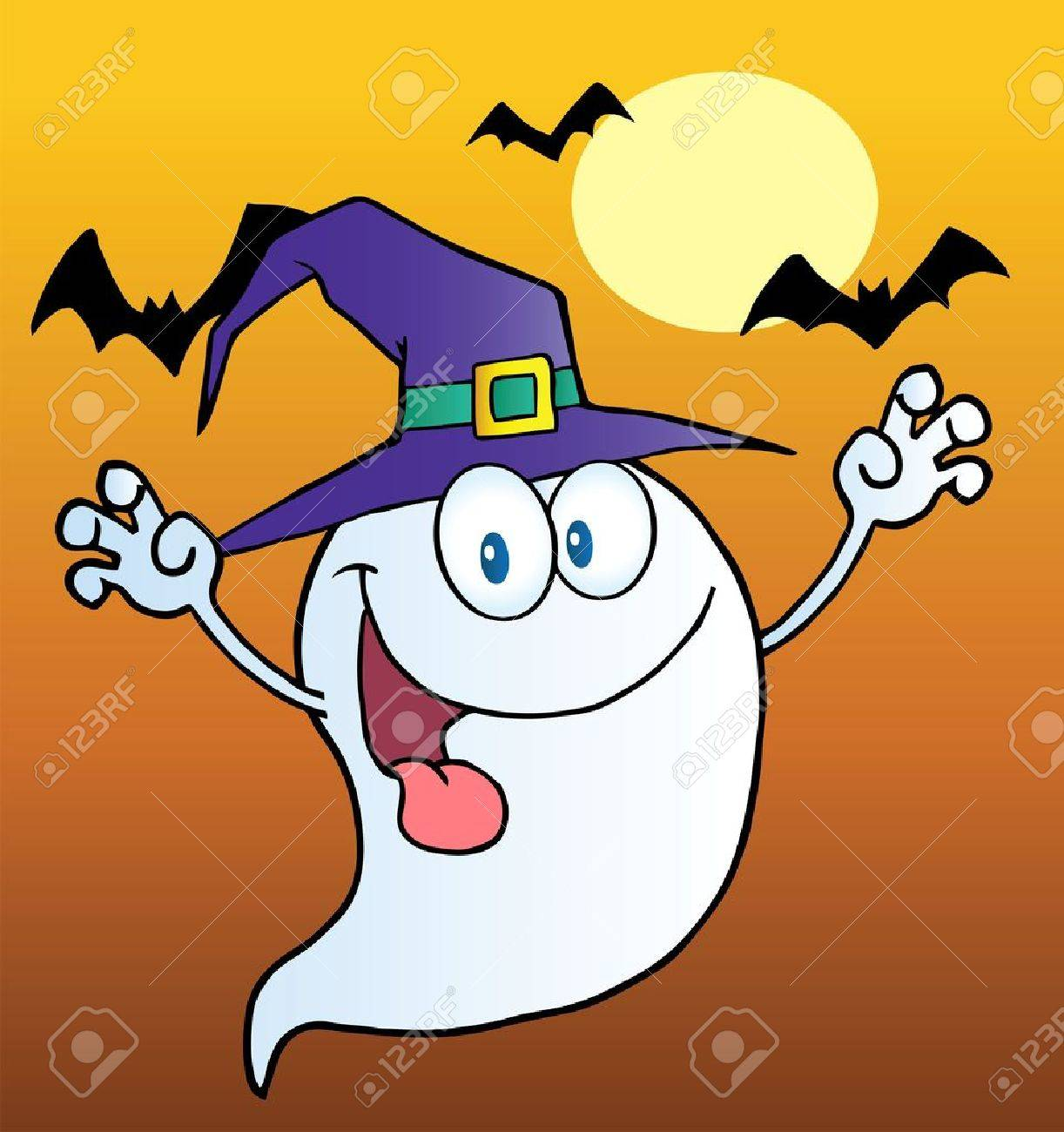 Spooky Ghost Wearing A Witch Hat Over Bats On Orange Stock Vector - 10748931