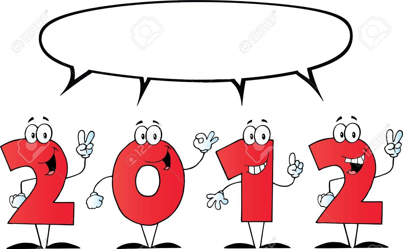 2012 New Year Numbers Cartoon Characters With Speech Bubble Stock Vector - 11126011