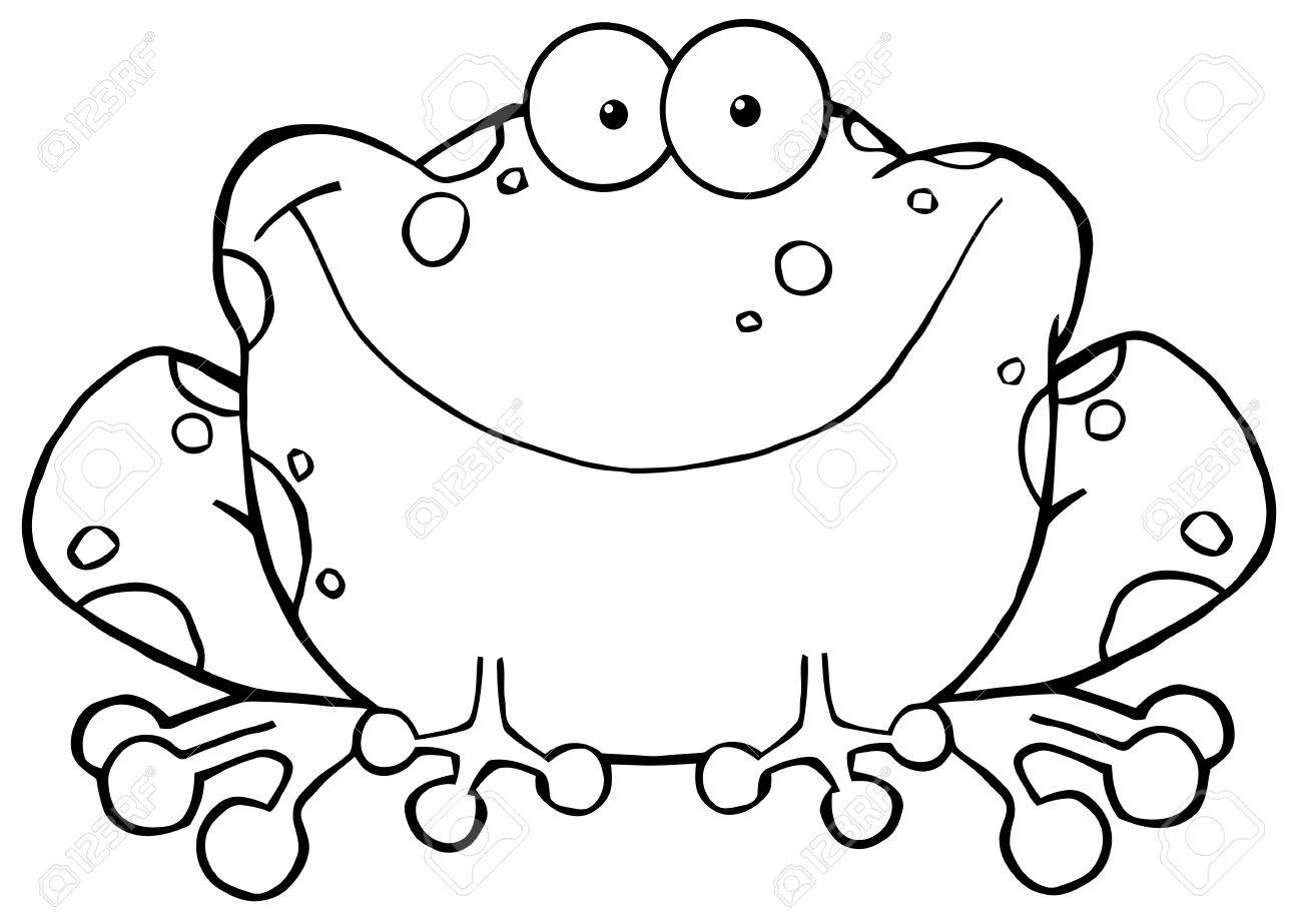 outlined happy frog cartoon character vector illustration royalty