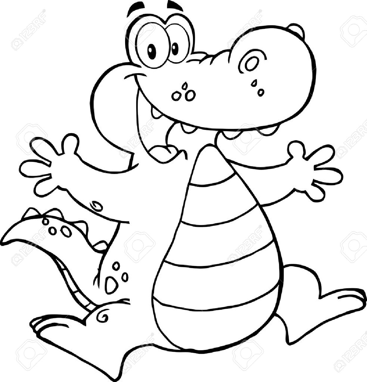 Outlined Happy Alligator Or Crocodile Jumping Royalty Free ... for Clipart Crocodile Black And White  67qdu