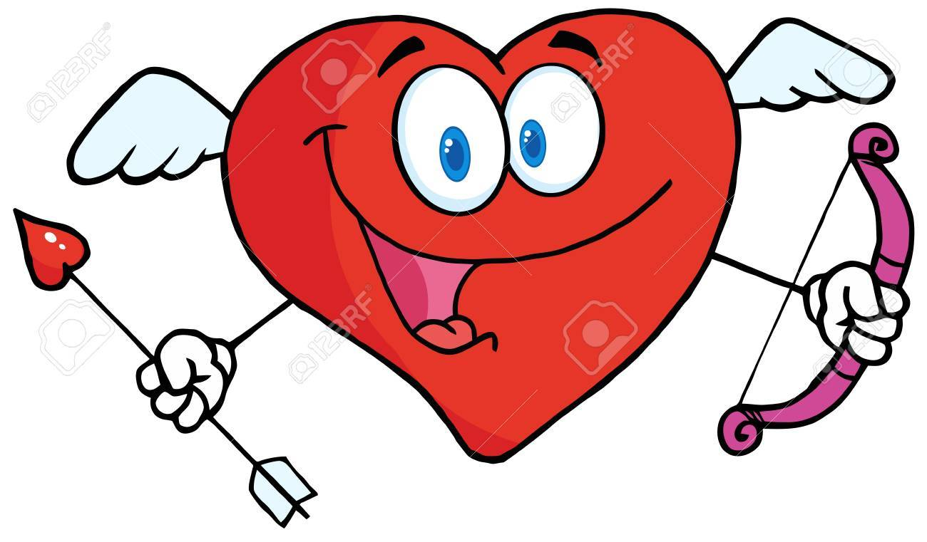 Happy Heart Cupid With A Bow And Arrow Stock Vector - 12145671