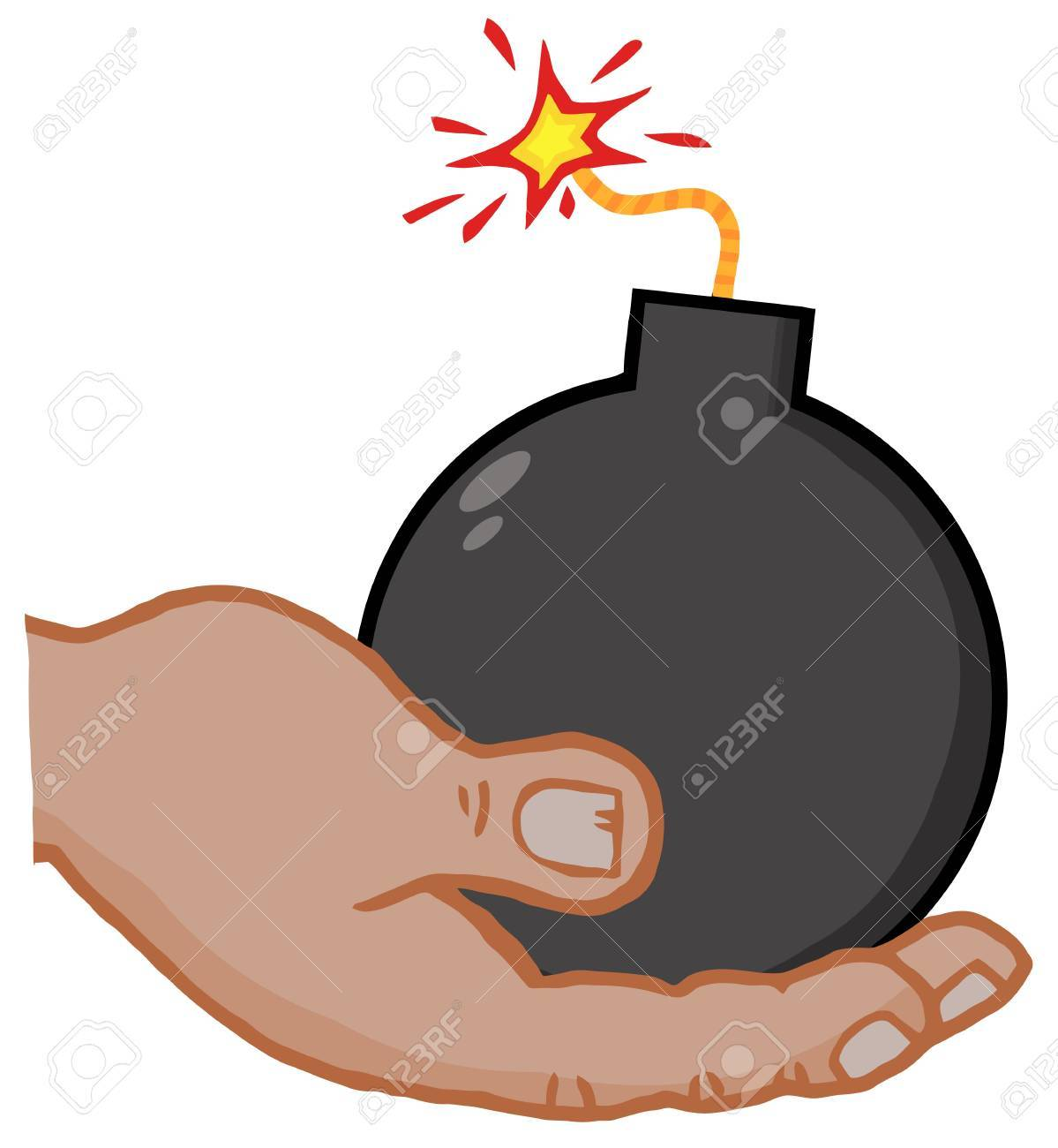 African American Hand Holding Bomb Stock Vector - 12352830