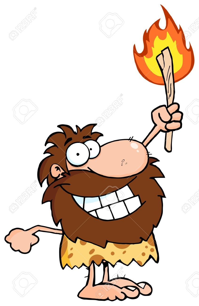 Happy Caveman Holding Up A Torch Stock Vector - 12352908