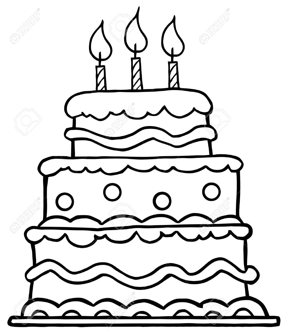 Free coloring page birthday cake
