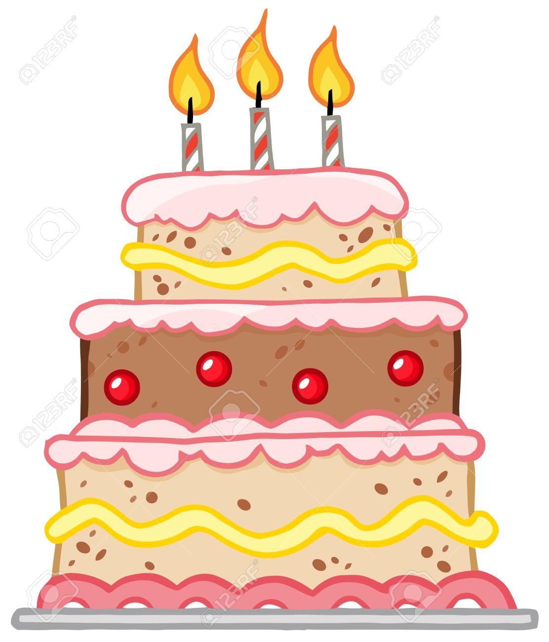 Gâteau Danniversaire Avec Trois Bougies