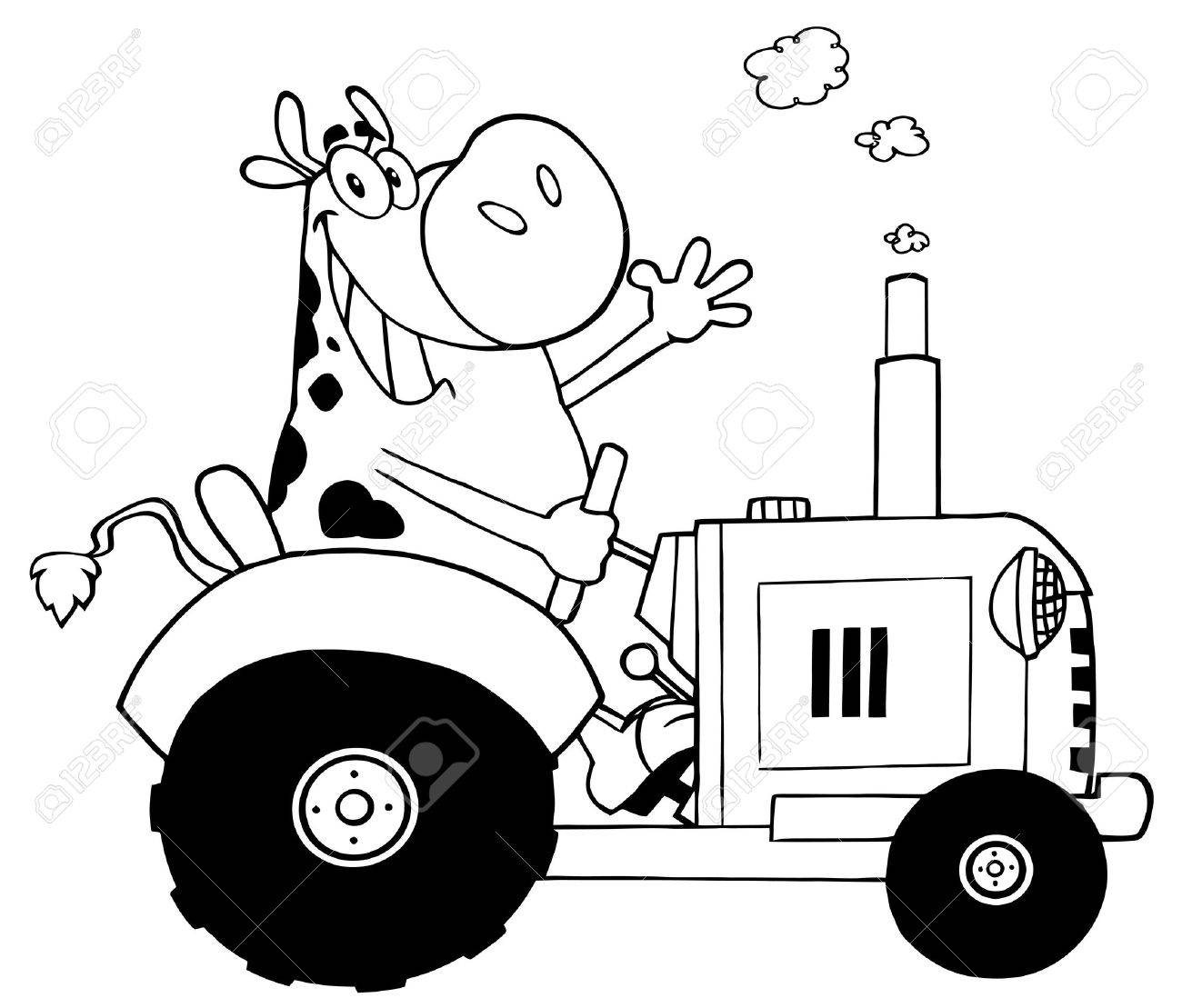 Outlined Happy Cow Farmer In Red Tractor Waving A Greeting Royalty