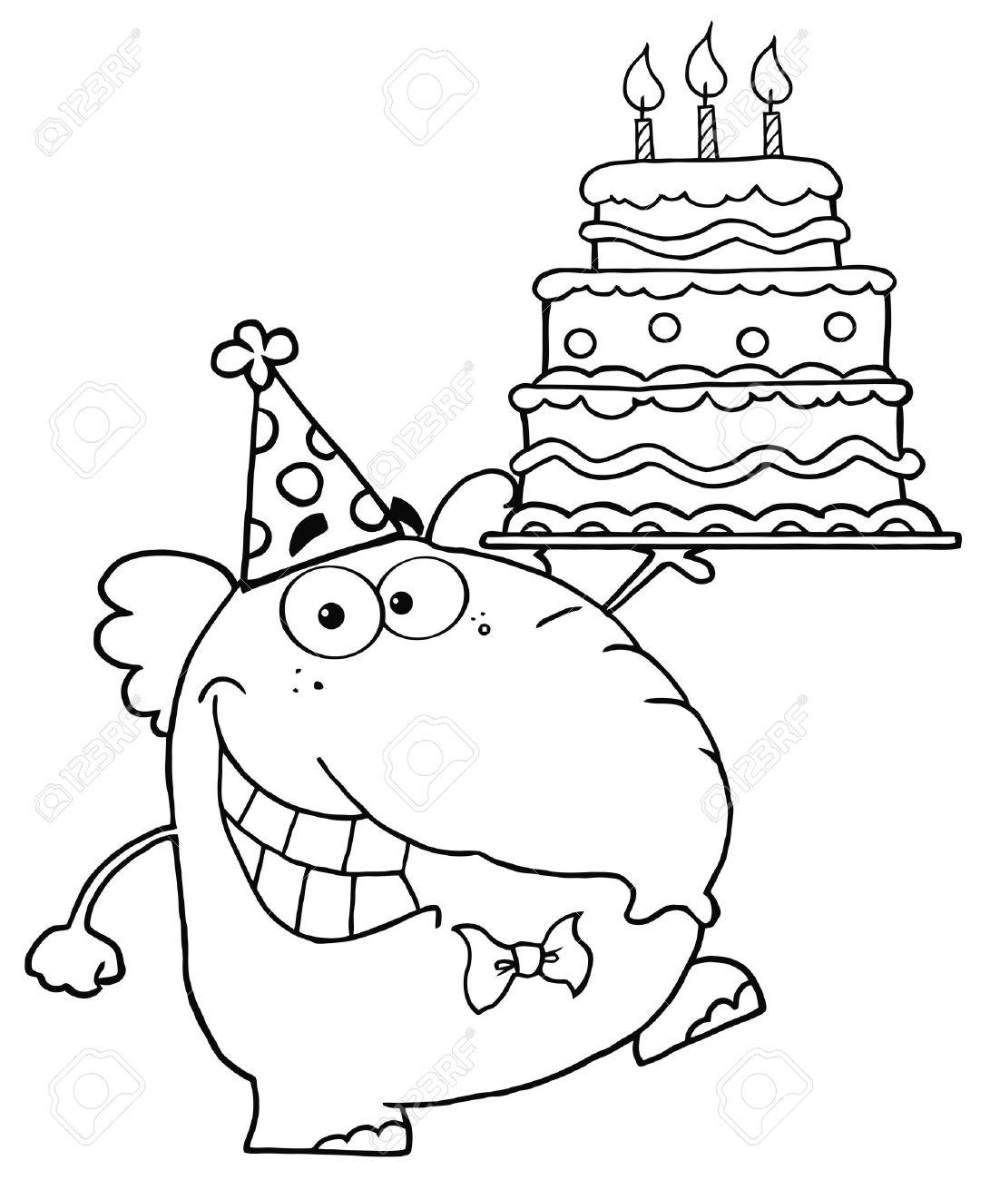 Рисунок контурный с днём рождения