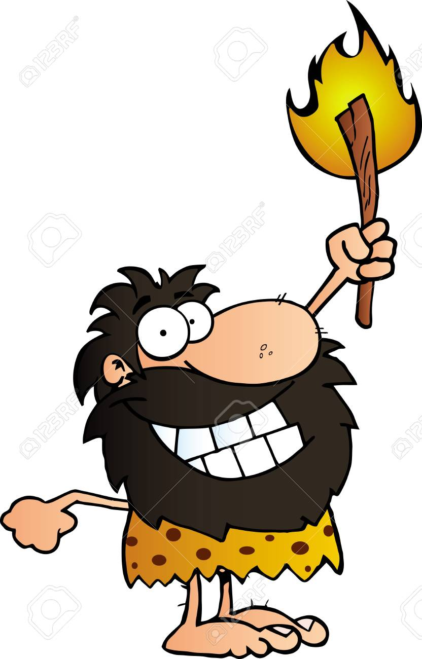 Happy Caveman Holding Up A Torch Stock Vector - 12493351