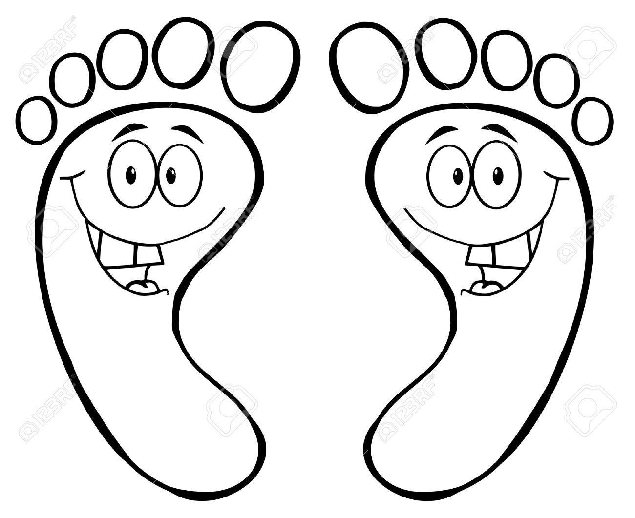 Esbozo De Impresión Feliz Pie De Dibujos Animados