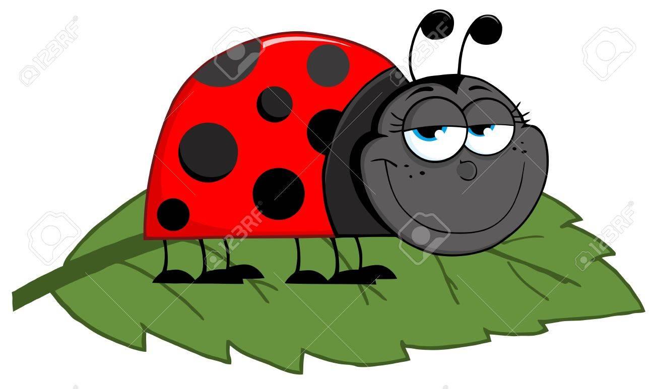 Happy Cartoon Ladybug On A Leaf Royalty Free Cliparts, Vectors, And ... for Clipart Ladybug On Leaf  183qdu