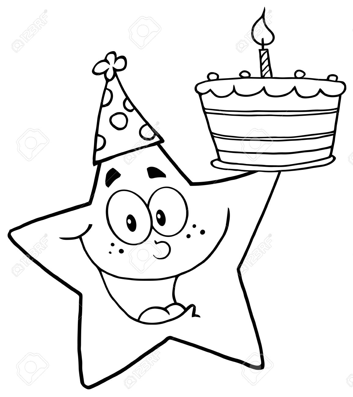 Outline Happy Star Holding A Birthday Cake Royalty Free Cliparts
