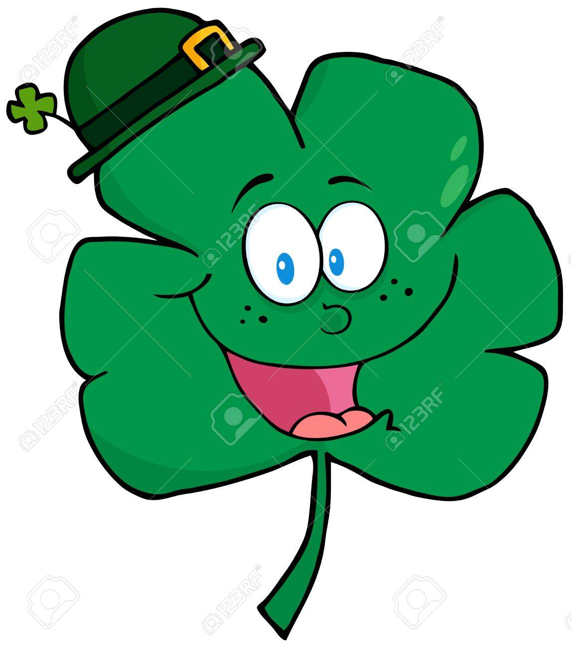 Happy Green Clover Wearing A Green Hat Stock Vector - 12775301